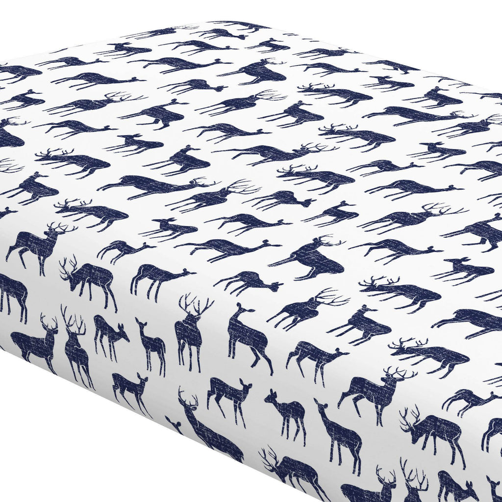 Product image for Windsor Navy Deer Crib Sheet