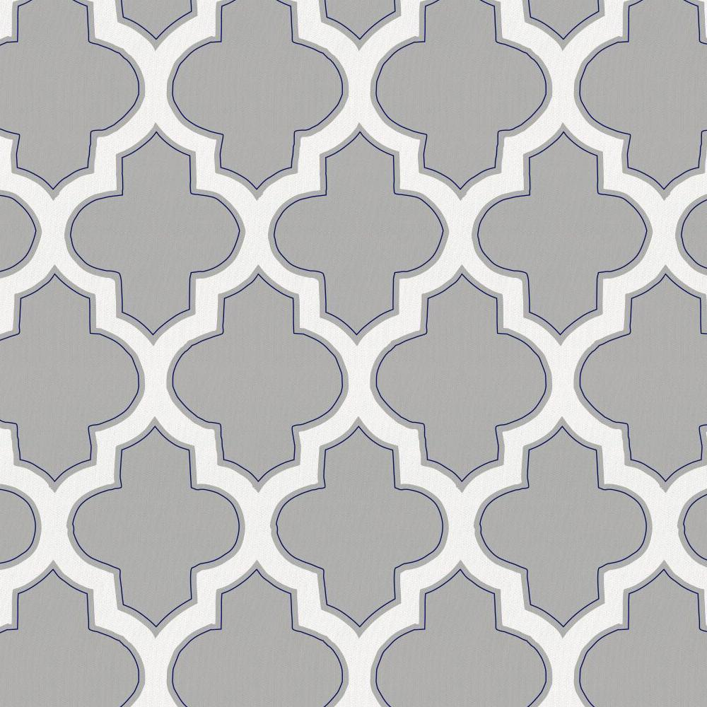 Product image for Silver Gray and Navy Hand Drawn Quatrefoil Crib Skirt Gathered