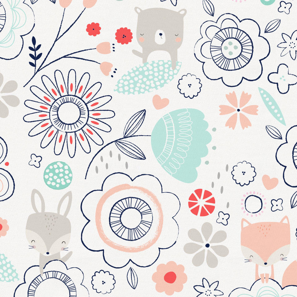 Product image for Coral Spring Doodles Crib Skirt Gathered