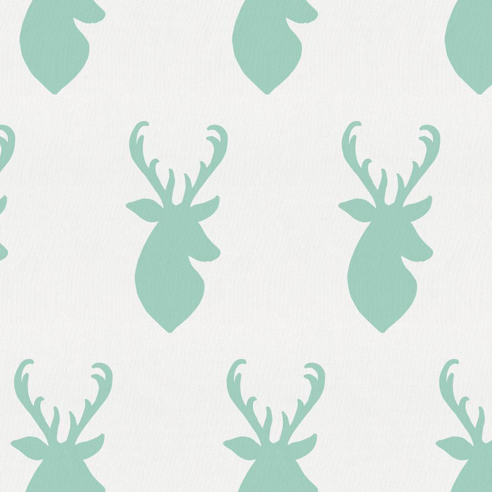 Product image for Mint Deer Head Crib Skirt Single-Pleat
