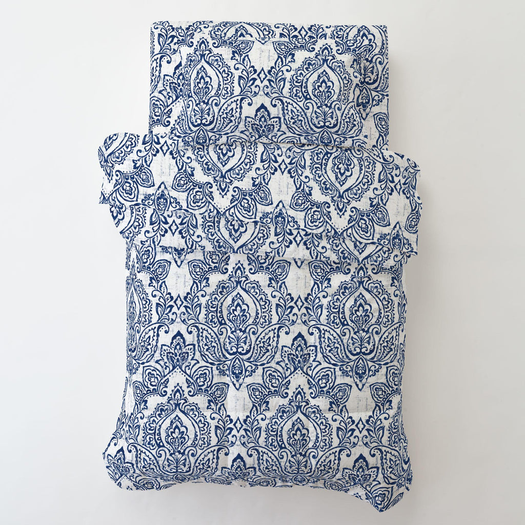Product image for White and Navy Vintage Damask Toddler Sheet Bottom Fitted