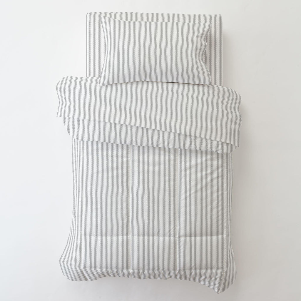 Product image for Cloud Gray Ticking Stripe Toddler Sheet Bottom Fitted