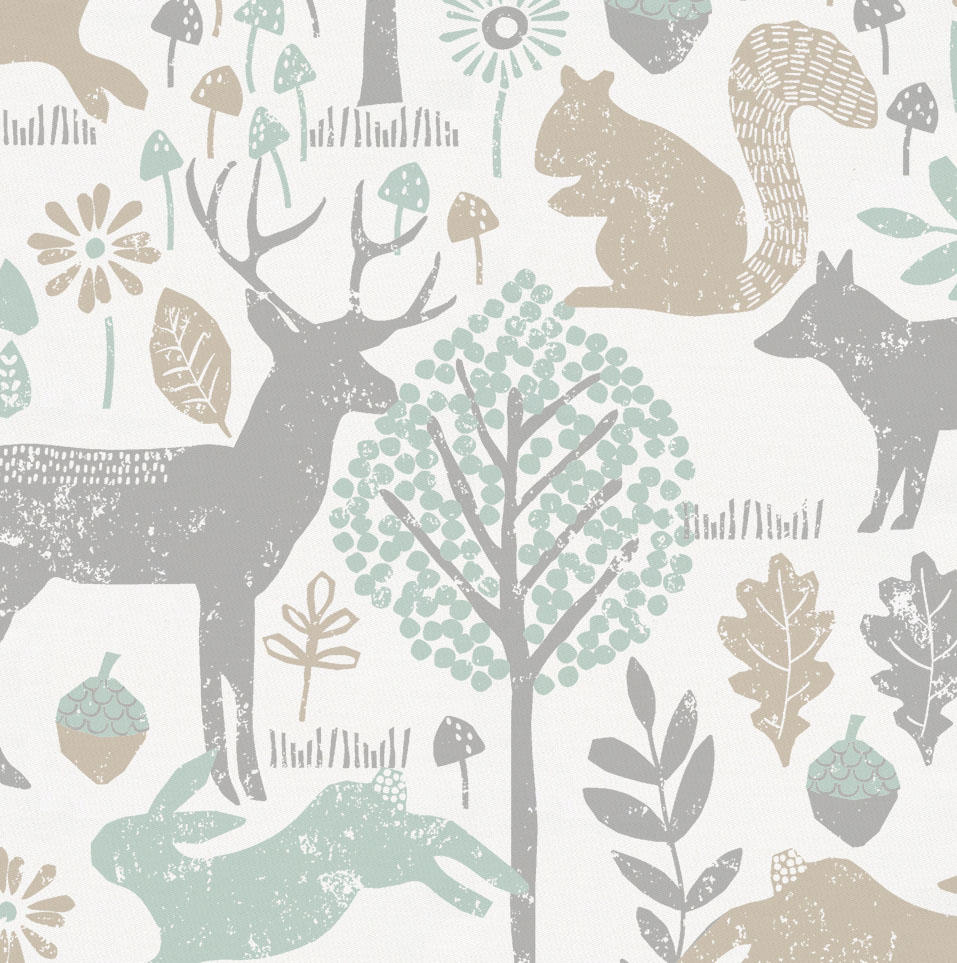 Product image for Gray and Taupe Woodland Animals Crib Skirt Single-Pleat
