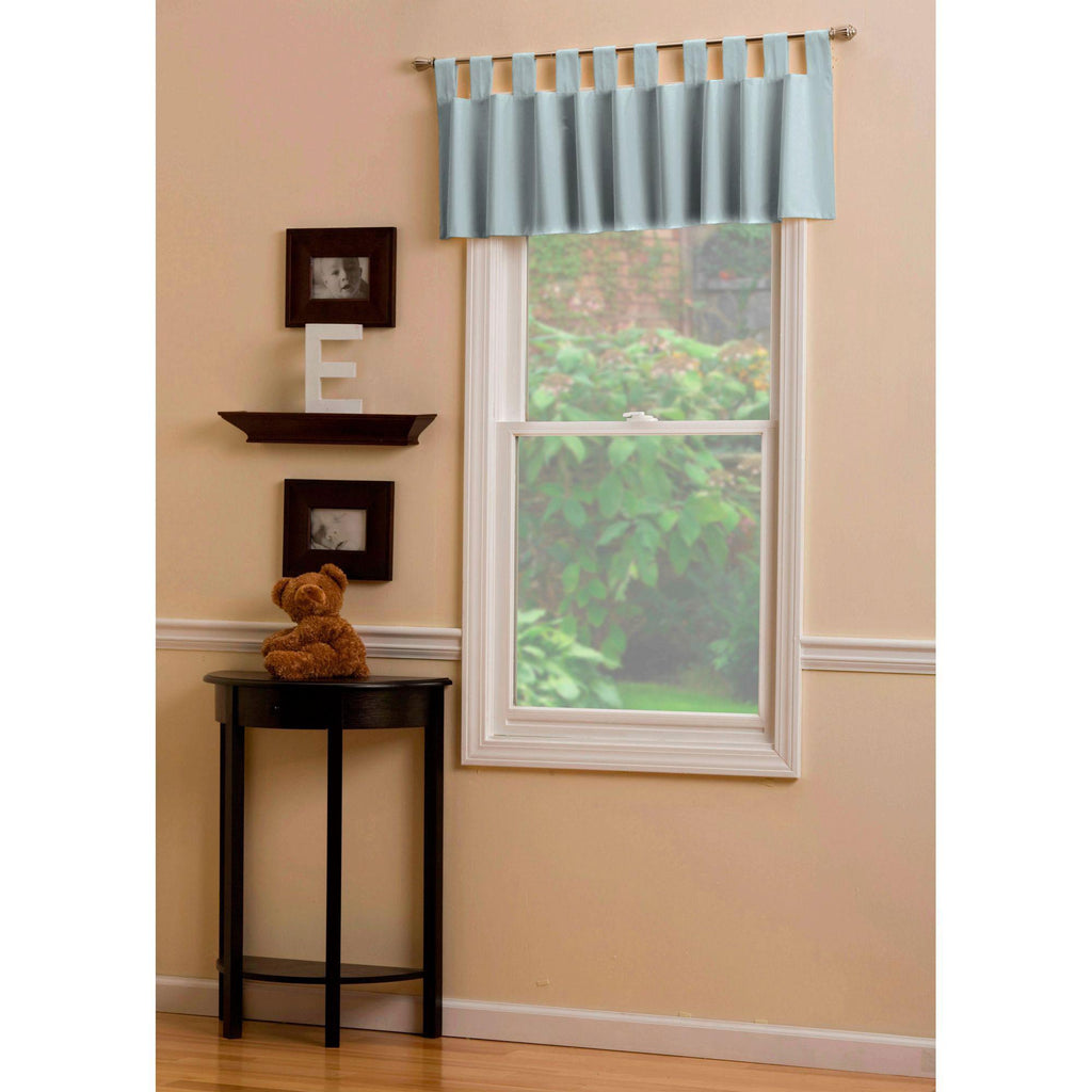 Product image for Solid Robin's Egg Blue Window Valance Tab-Top