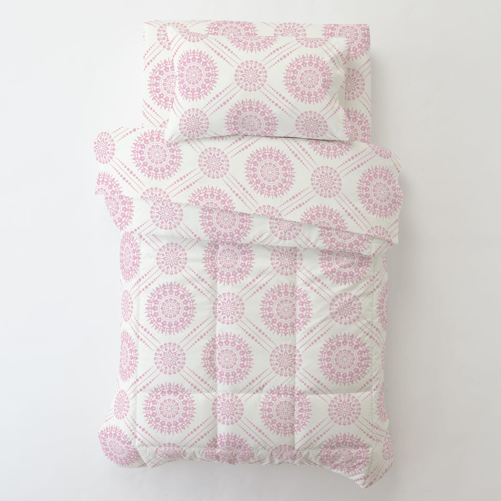 Product image for Bubblegum Pink Modern Medallion Toddler Pillow Case