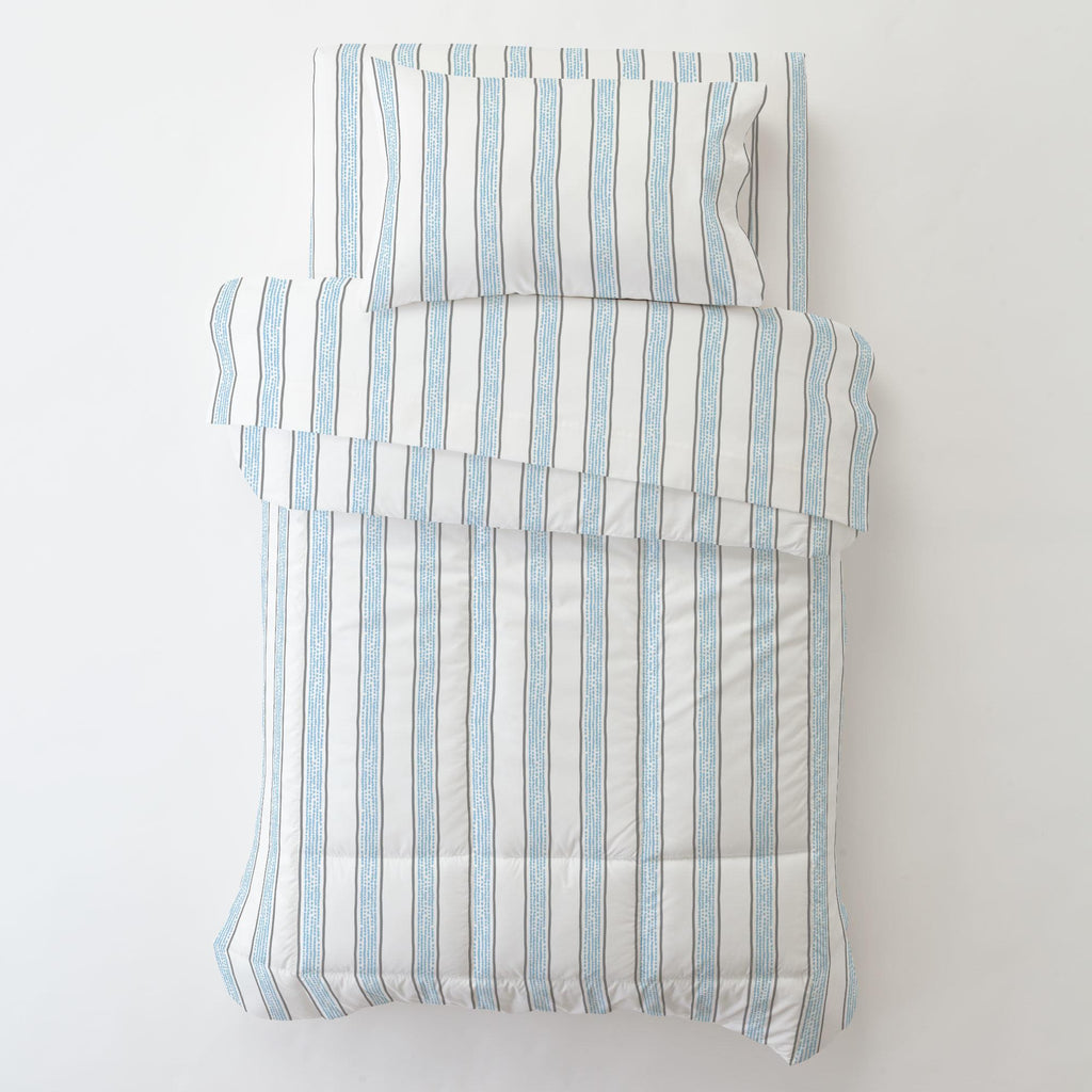 Product image for Gray and Lake Blue Beach Stripe Toddler Sheet Bottom Fitted