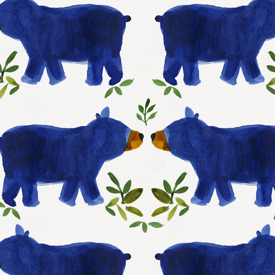 Product image for Blue Woodland Bear Pillow Case