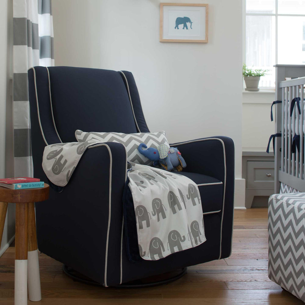 Product image for Navy and Gray Elephants Baby Blanket