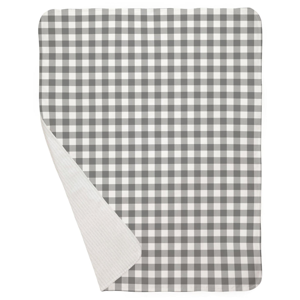Product image for Gray Gingham Baby Blanket