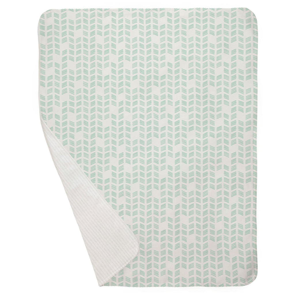Product image for Mint Tribal Herringbone Baby Blanket