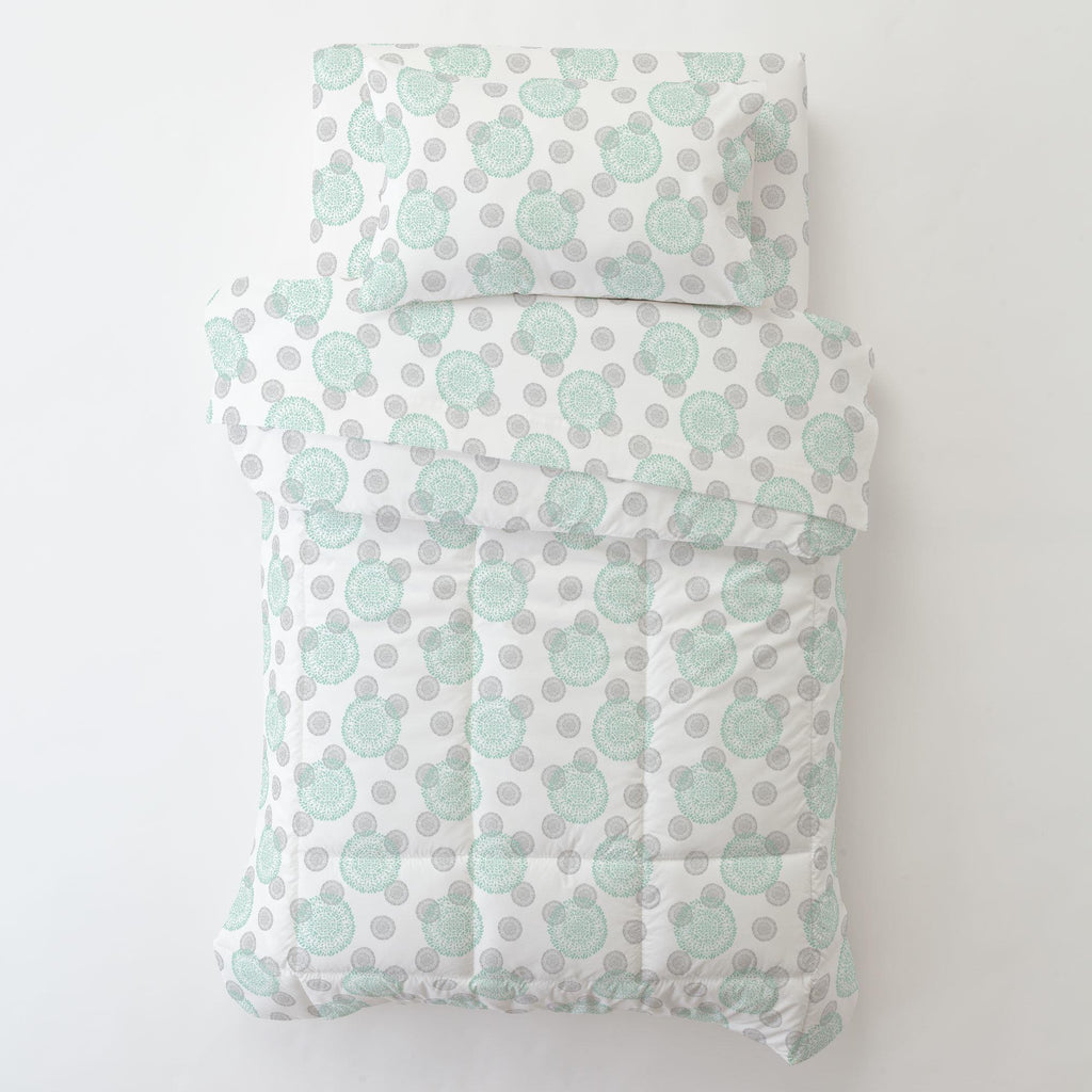 Product image for Mint and Silver Gray Dandelion Toddler Sheet Bottom Fitted