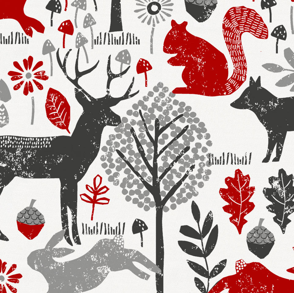 Product image for Red and Gray Woodland Animals Duvet Cover