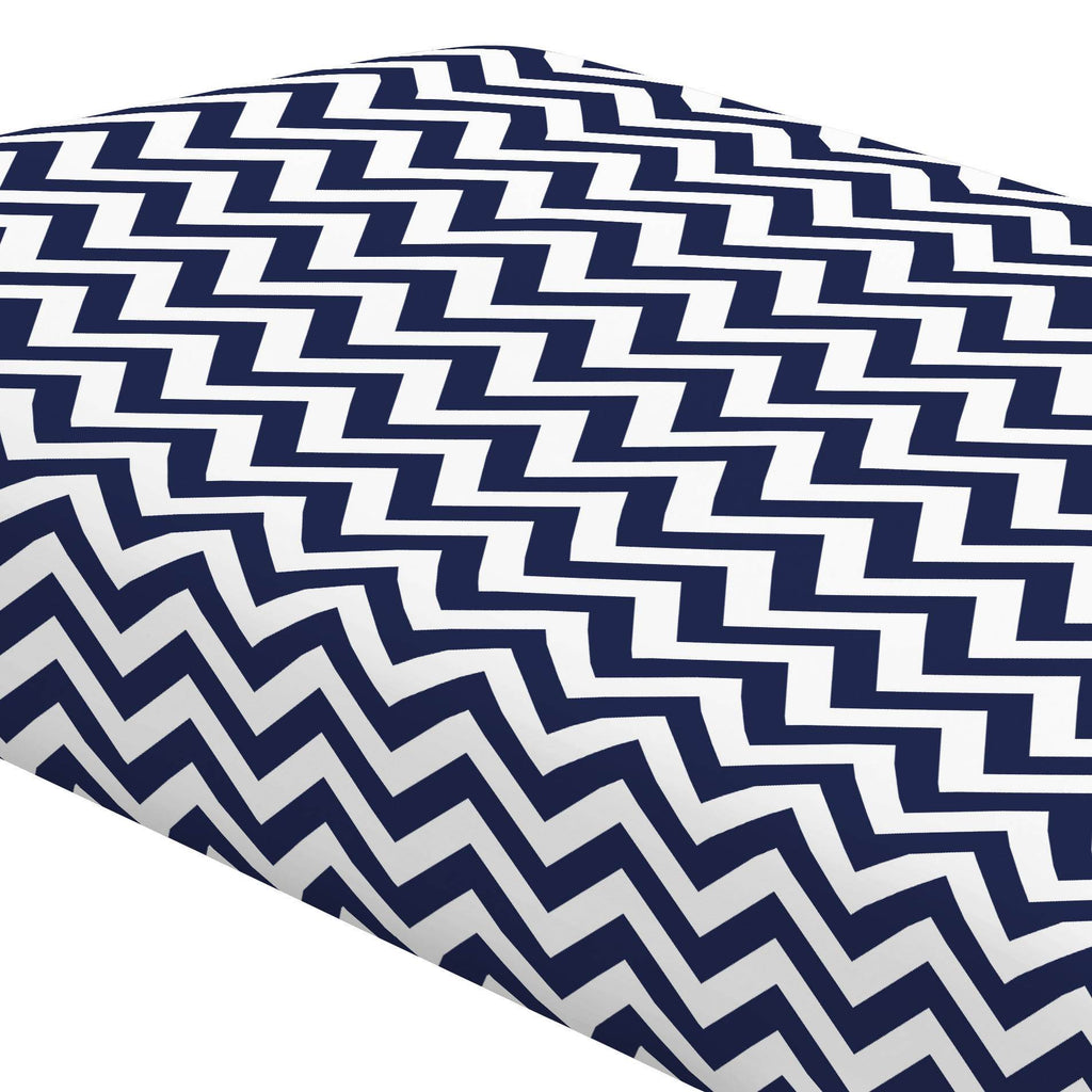 Product image for White and Navy Zig Zag Crib Sheet