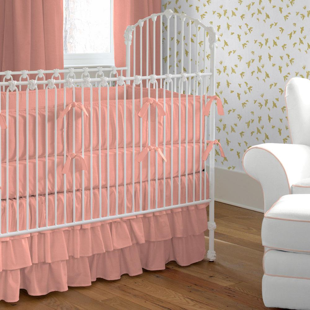 Product image for Solid Light Coral Crib Comforter with Piping