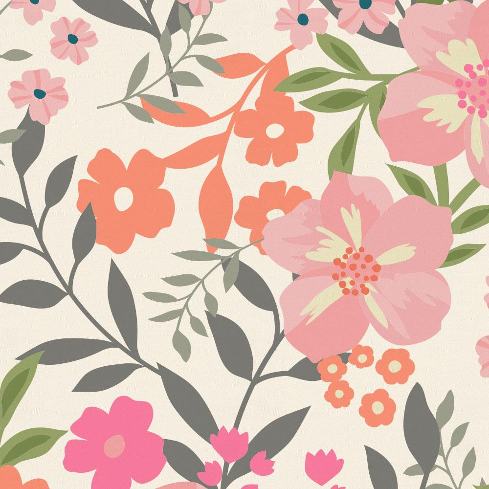 Product image for Coral Pink Heather and Pink and Orange Floral Tropic Drape Panel with Ties