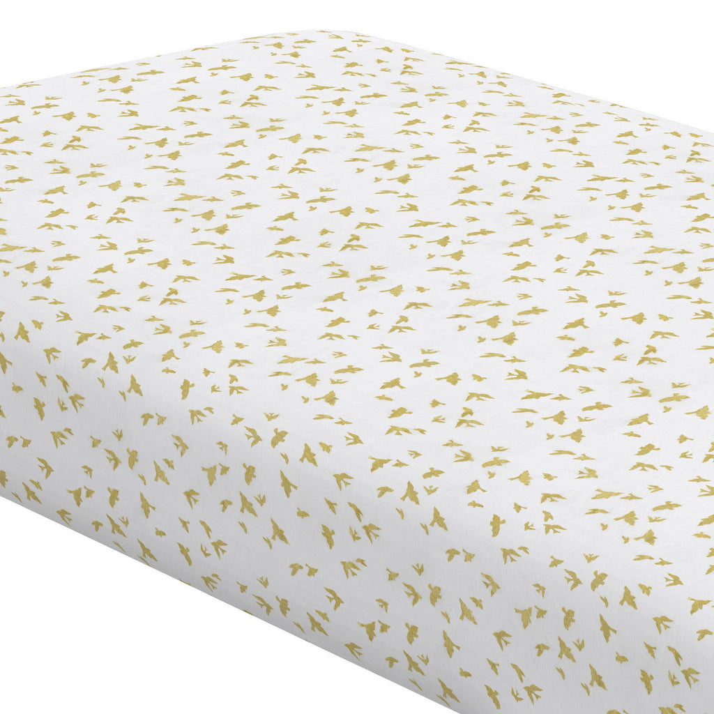 Product image for White and Gold Birds Crib Sheet
