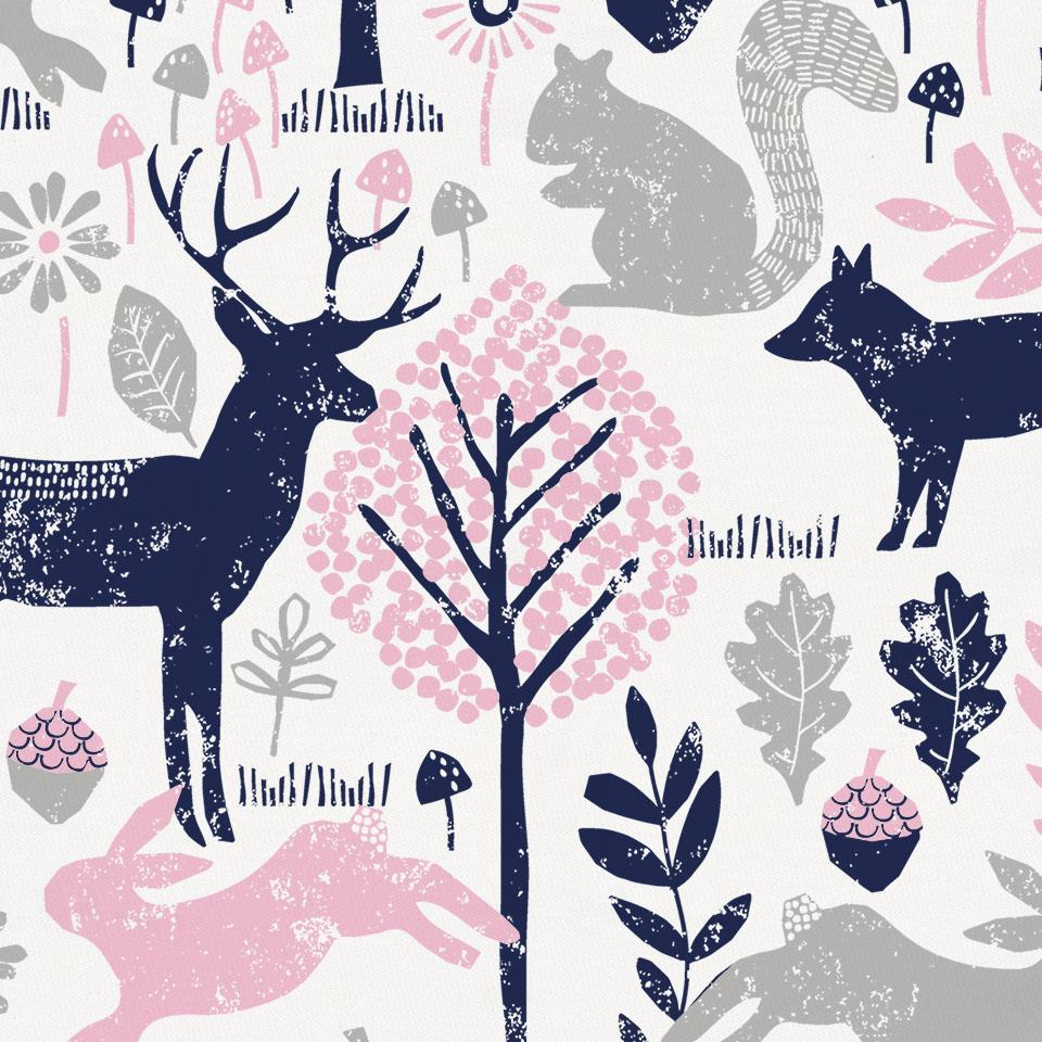 Product image for Bubblegum Pink and Navy Woodland Animals Toddler Comforter