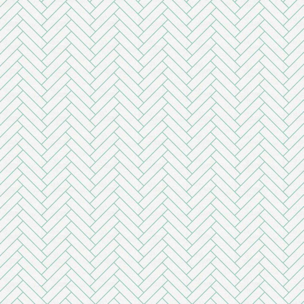 Product image for White and Mint Classic Herringbone Crib Skirt Gathered