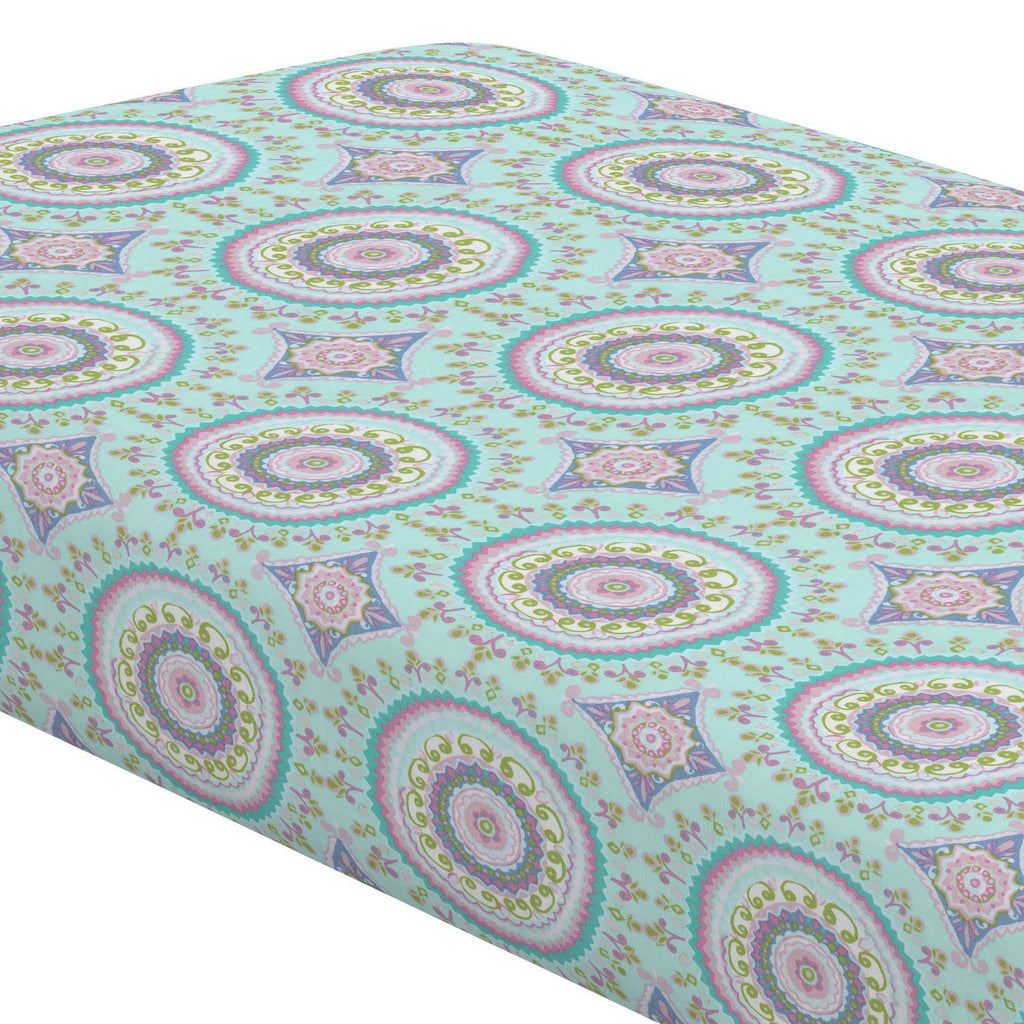 Product image for Aqua Haute Circles Crib Sheet