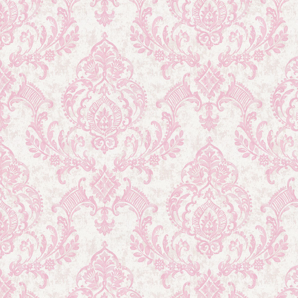 Product image for Pink Painted Damask Fabric