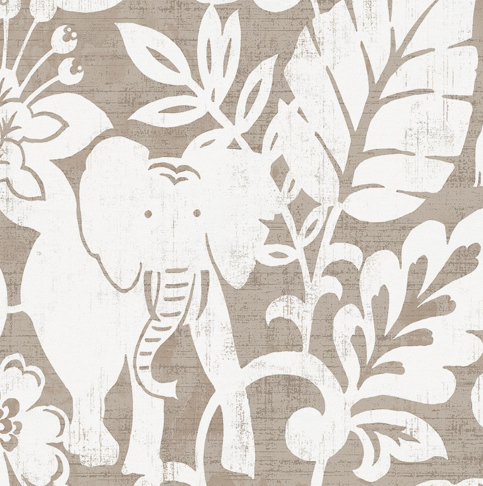 Product image for Taupe and White Jungle Crib Skirt Gathered
