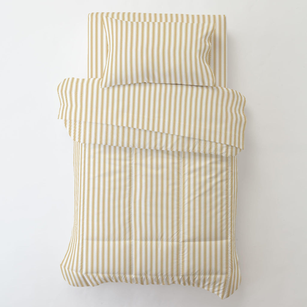 Product image for Mustard Ticking Stripe Toddler Sheet Bottom Fitted