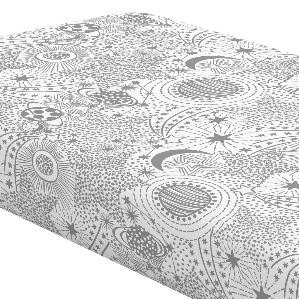 Product image for Cloud Gray Galaxy Crib Sheet