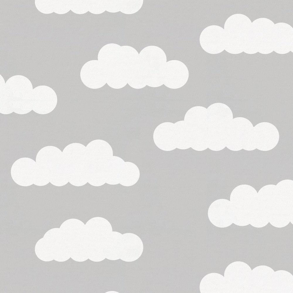 Product image for Silver Gray and White Clouds Crib Skirt Single-Pleat
