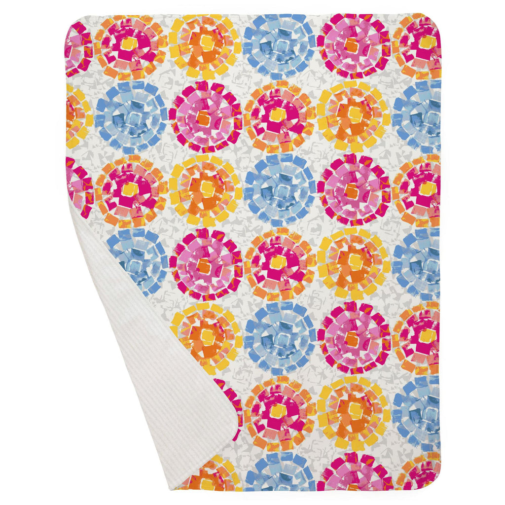 Product image for Pink and Blue Modern Mosaic Baby Blanket