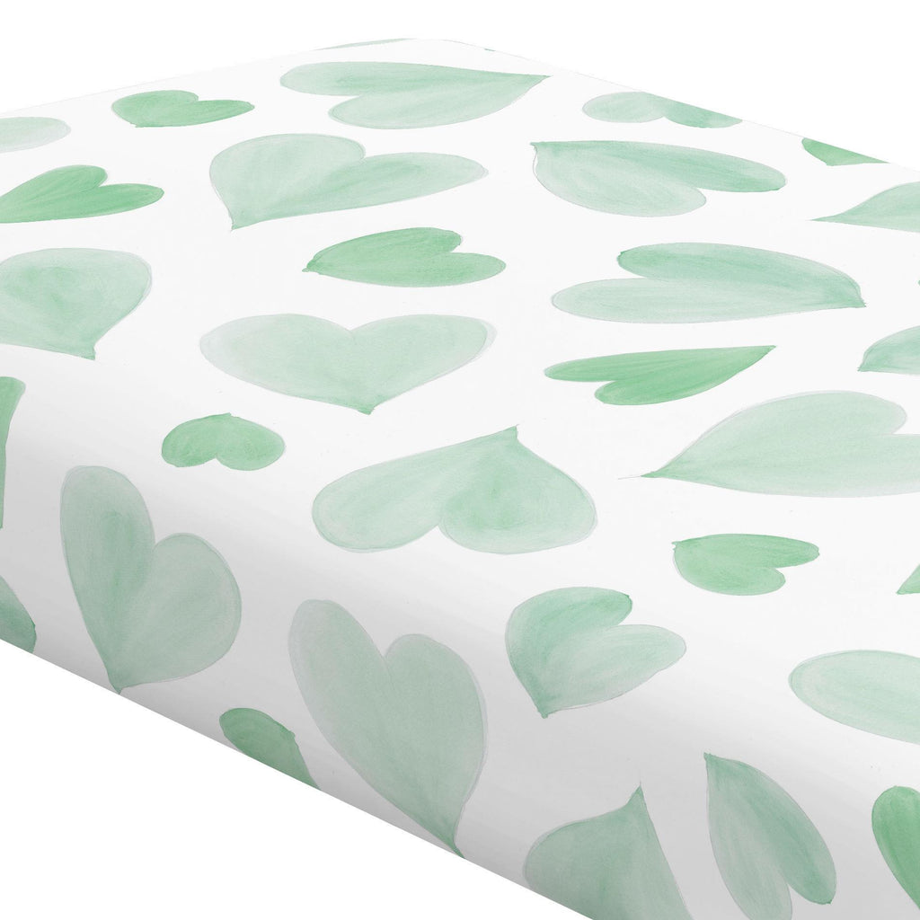 Product image for Mint Watercolor Hearts Crib Sheet
