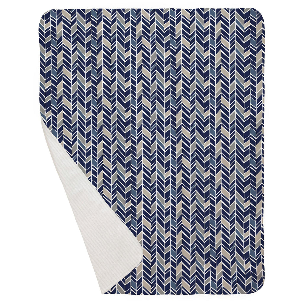 Product image for Taupe and Windsor Navy Herringbone Baby Blanket