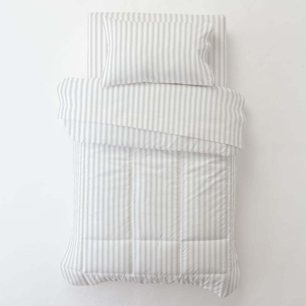Product image for French Gray Ticking Stripe Toddler Pillow Case