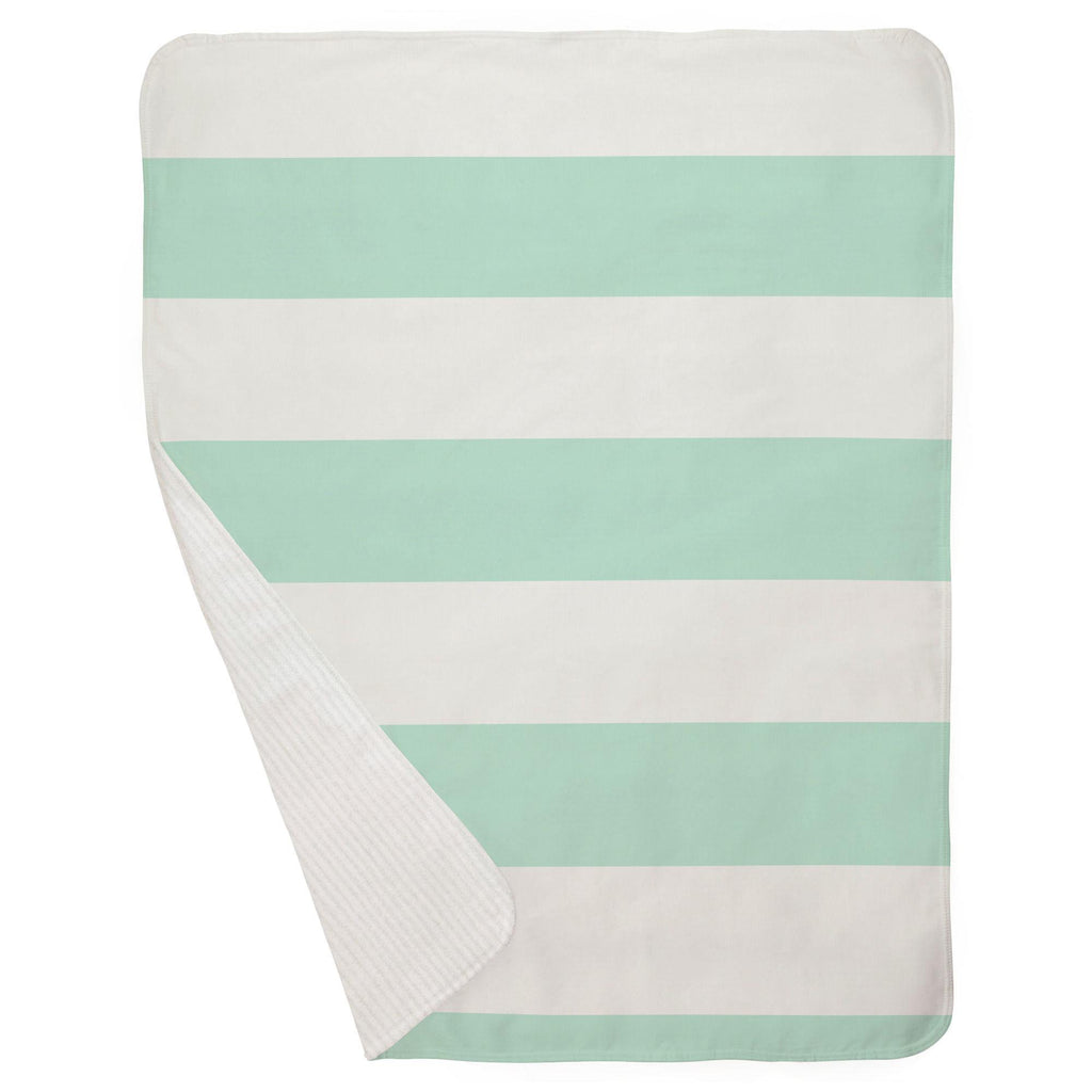 Product image for Icy Mint Horizontal Stripe Baby Blanket