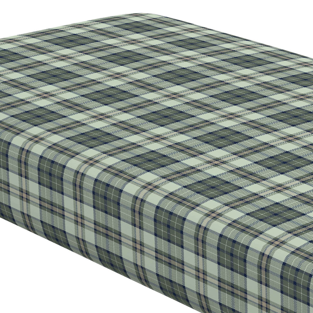 Product image for Navy and Seafoam Plaid Crib Sheet