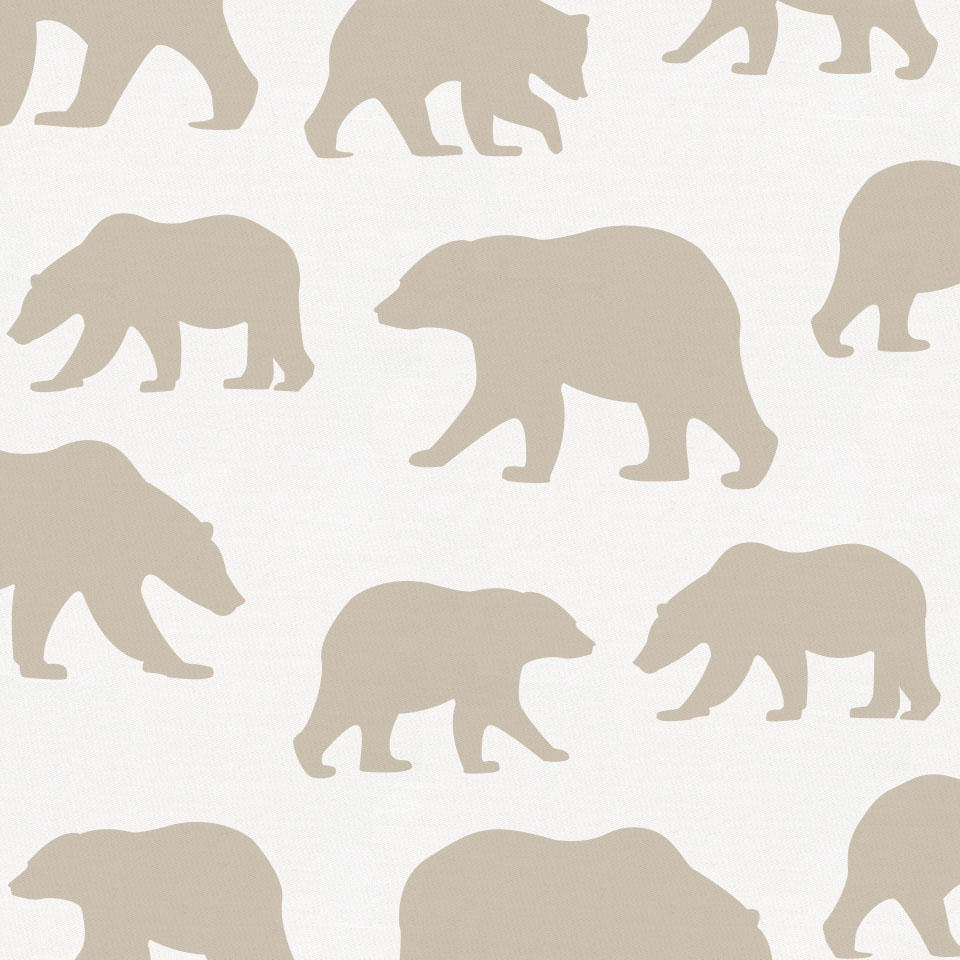 Product image for Taupe Bears Crib Skirt Gathered