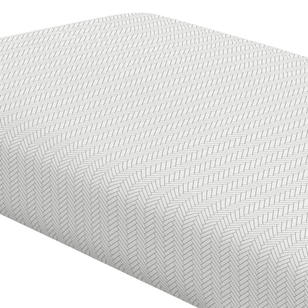Product image for White and Cloud Gray Classic Herringbone Crib Sheet