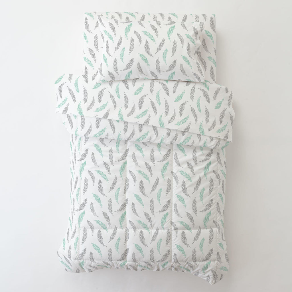 Product image for Mint and Silver Gray Hand Drawn Feathers Toddler Sheet Top Flat