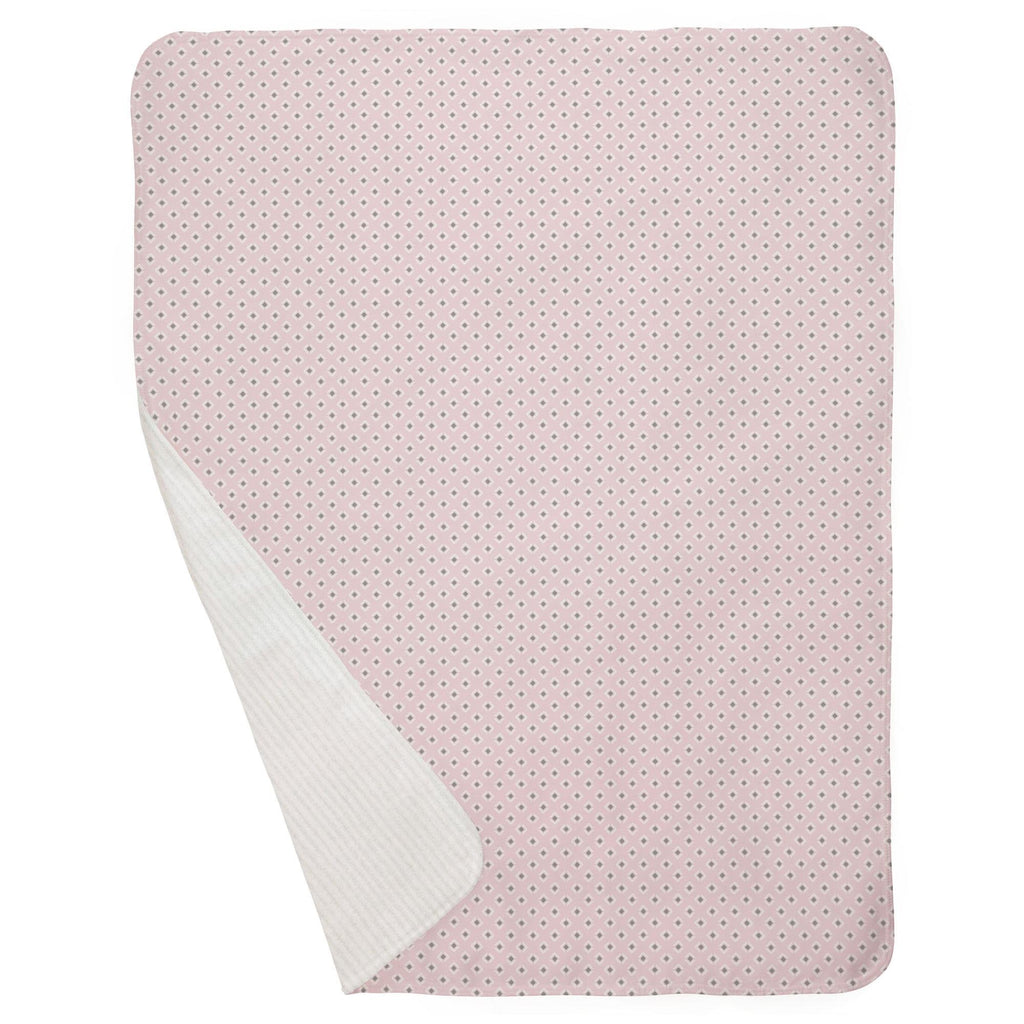 Product image for Pink and Gray Diamond Baby Blanket