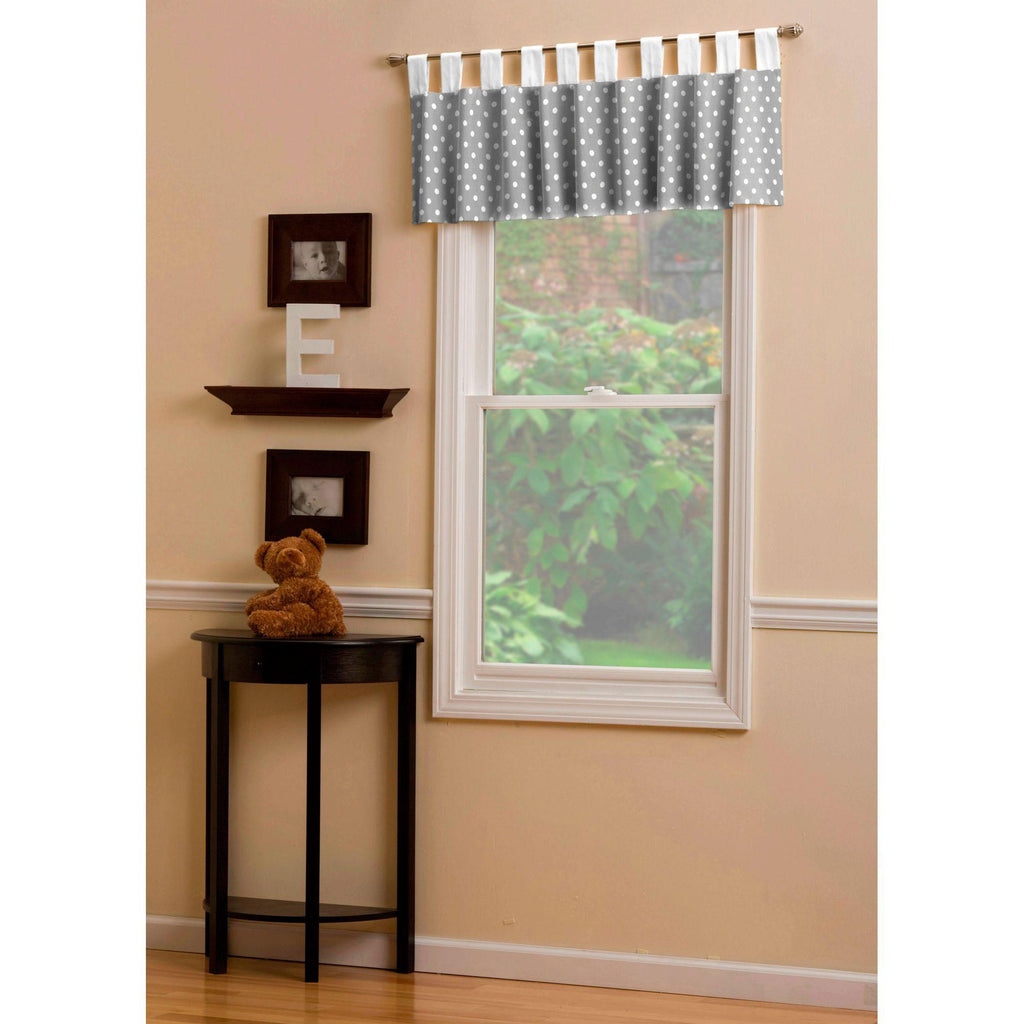Product image for Gray and White Polka Dot Window Valance Tab-Top