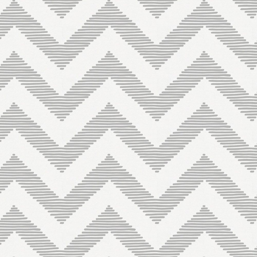 Product image for White and Silver Gray Chevron Crib Skirt Single-Pleat