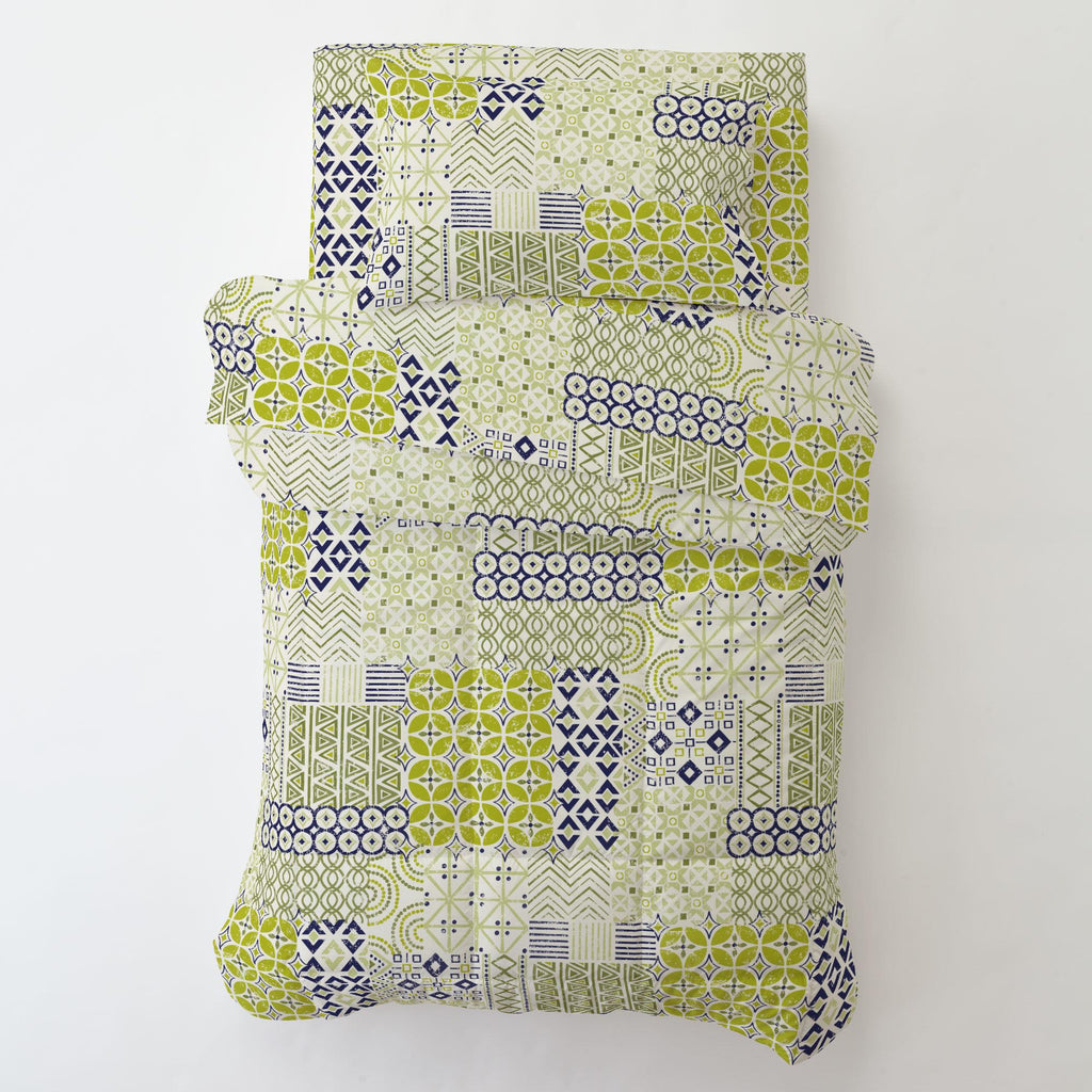 Product image for Citron and Navy Patchwork Toddler Pillow Case