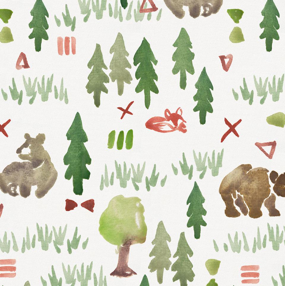 Product image for Watercolor Forest Crib Skirt Gathered