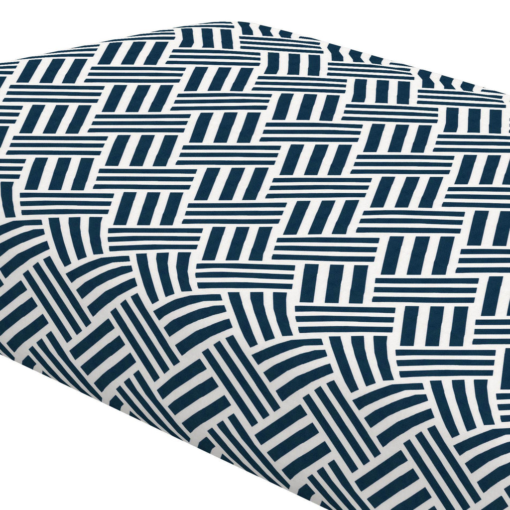 Product image for Navy Basketweave Crib Sheet
