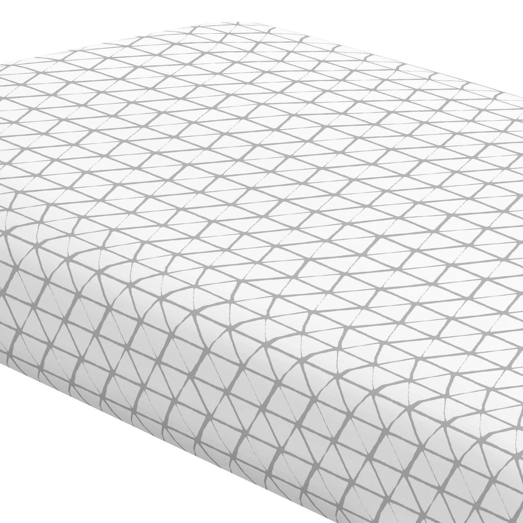Product image for White and Silver Gray Aztec Triangles Crib Sheet