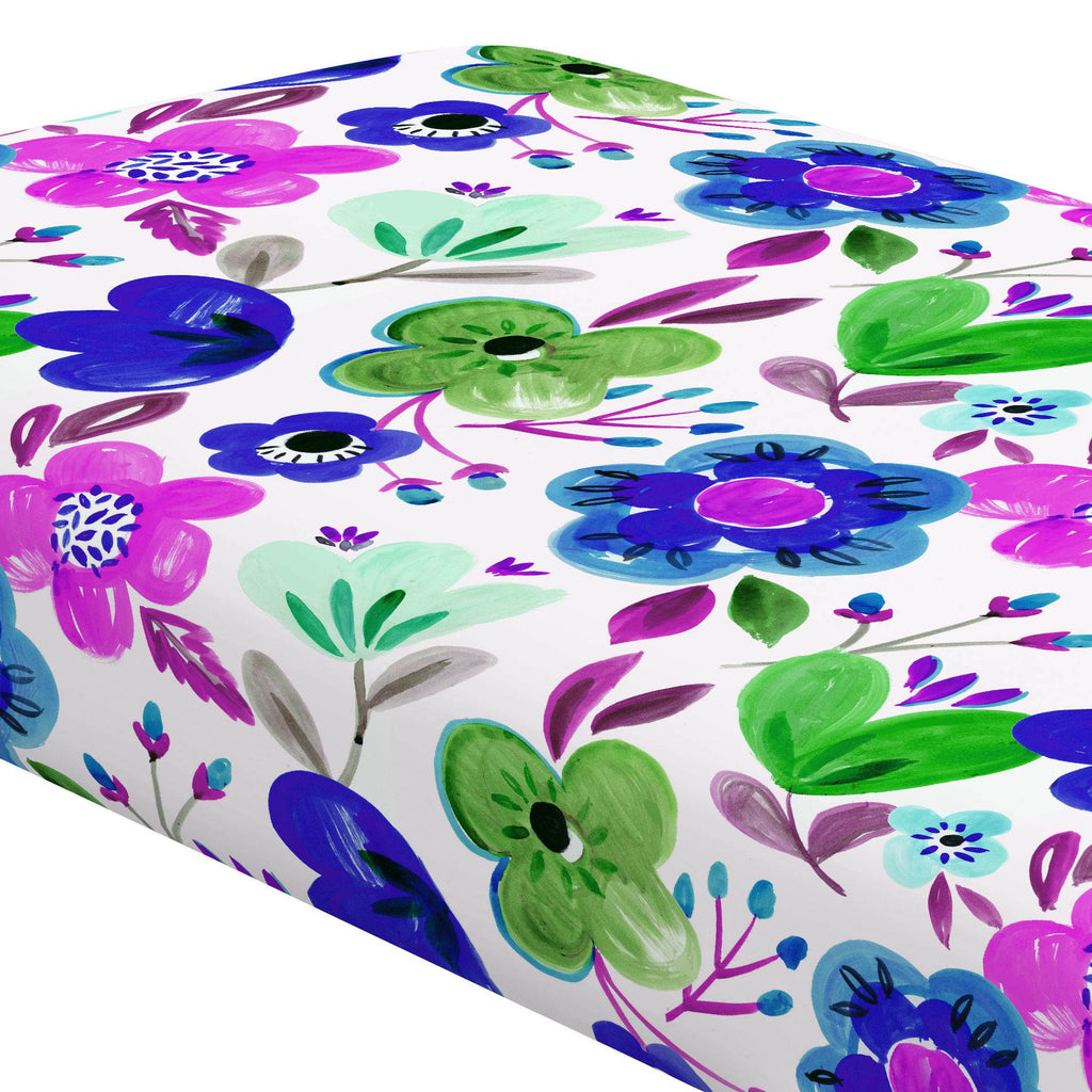 Product image for Purple Painted Flowers Crib Sheet