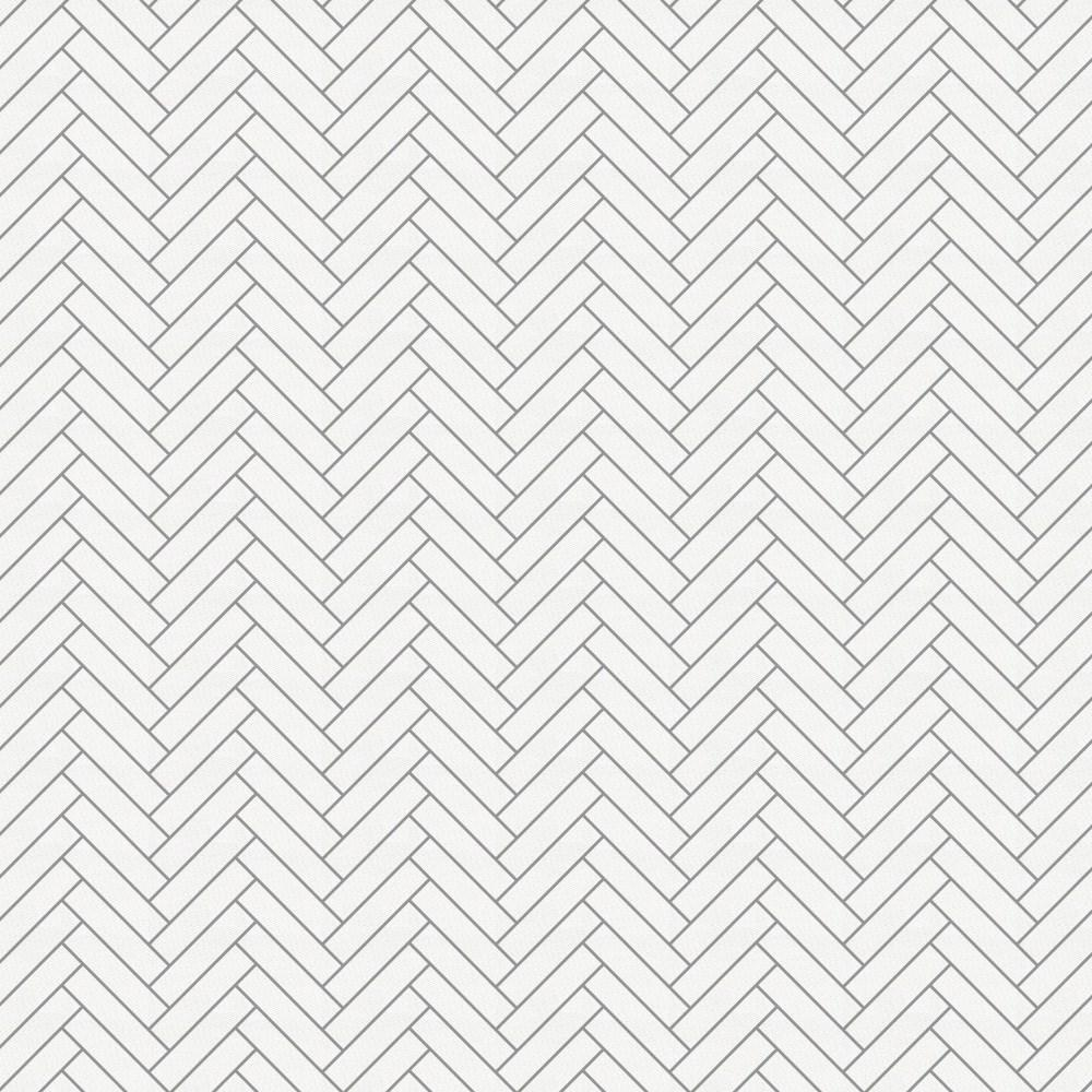 Product image for White and Cloud Gray Classic Herringbone Crib Skirt Single-Pleat