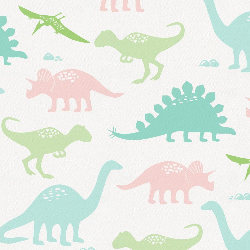 Product image for Pale Pink and Mint Dinosaurs Crib Skirt Gathered