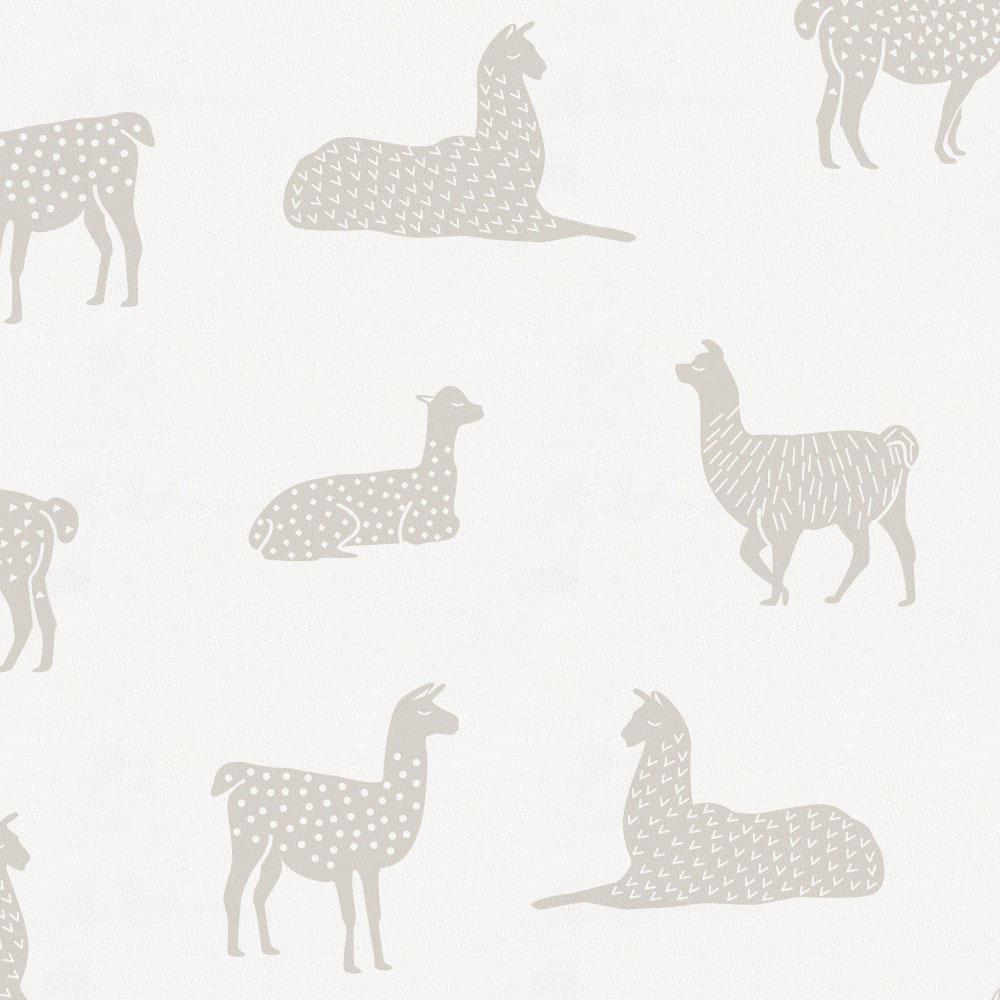 Product image for French Gray Llamas Crib Skirt Gathered