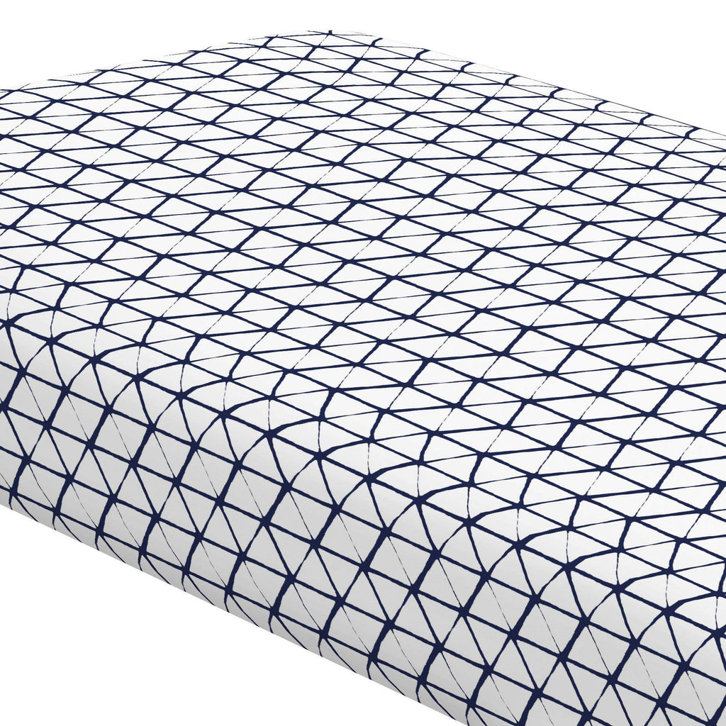 Product image for White and Navy Aztec Triangles Crib Sheet