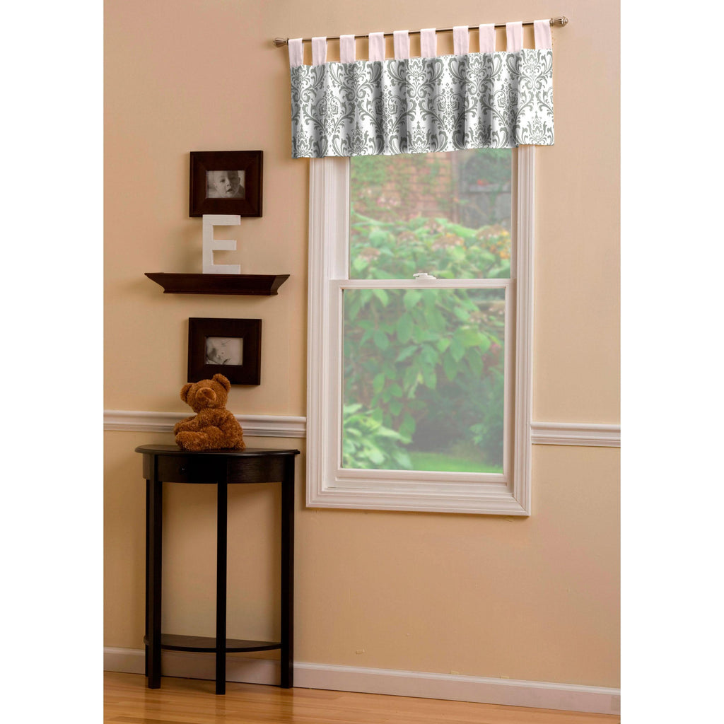 Product image for Pink and Gray Traditions Damask Window Valance Tab-Top